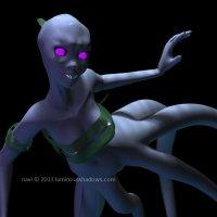 a blue tentacled mermaid swims in the deep ocean.