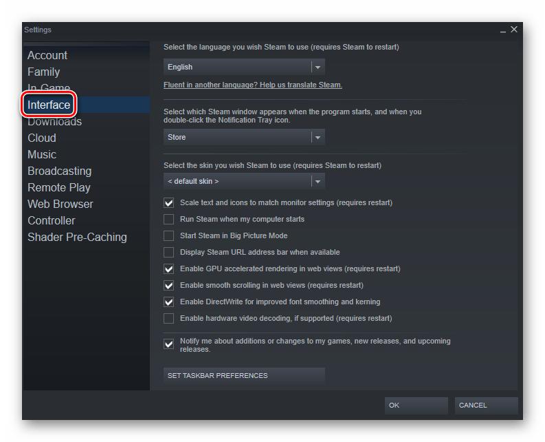 برای تغییر زبان به منوی تنظیمات رابط Steam بروید