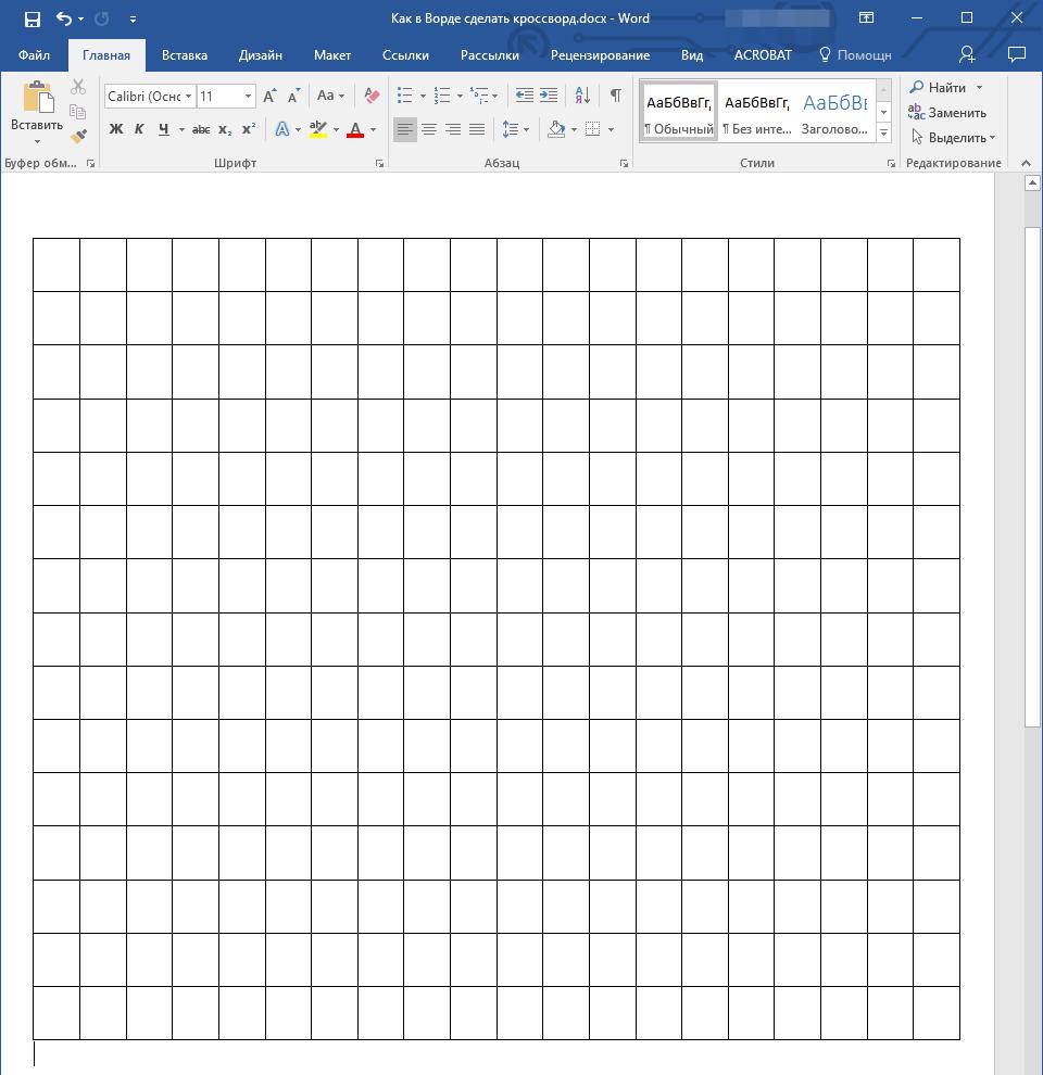 Tabella simmetrica in Word