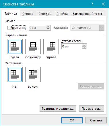 Table (paramètres) en mot