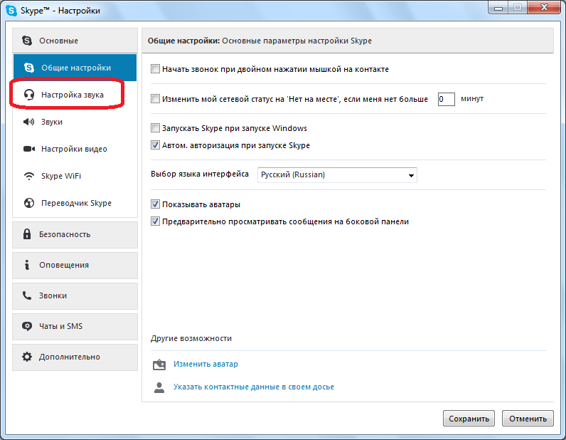 Transition to Sound Setup in Skype