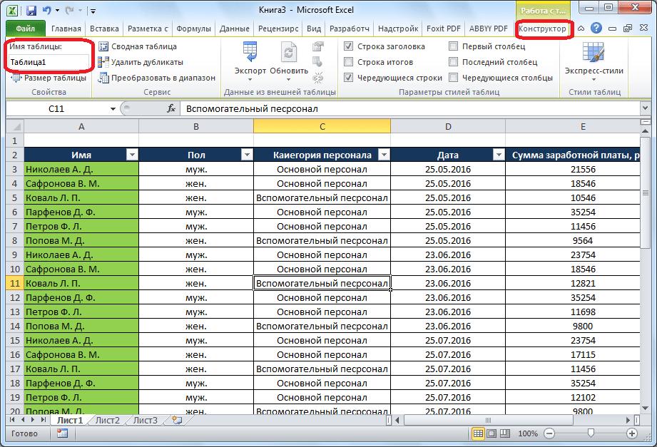 ชื่อตารางใน Microsoft Excel