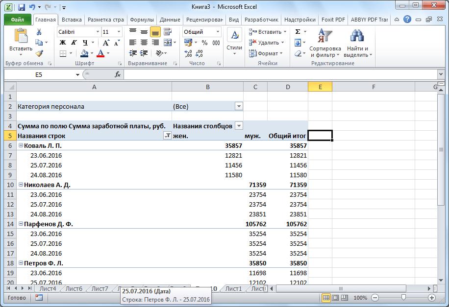 การเปลี่ยนประเภทของตาราง Pivot ใน Microsoft Excel