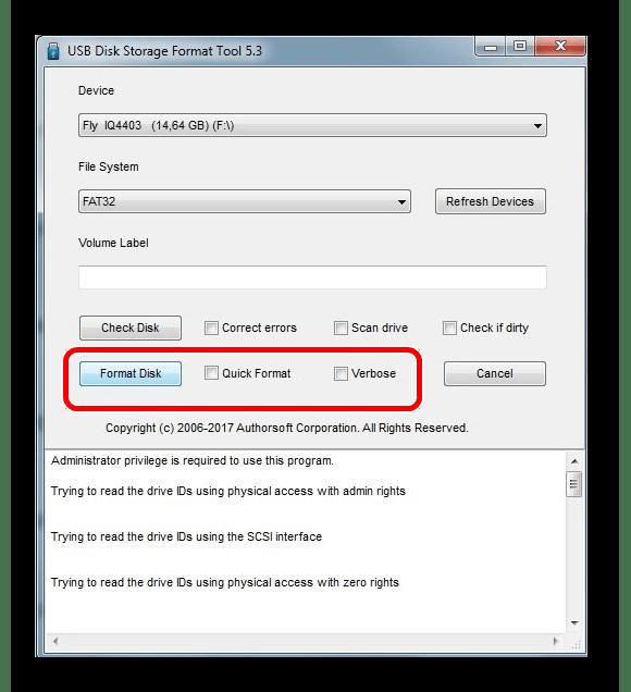 Opções de ferramentas de formato de armazenamento de disco HP USB