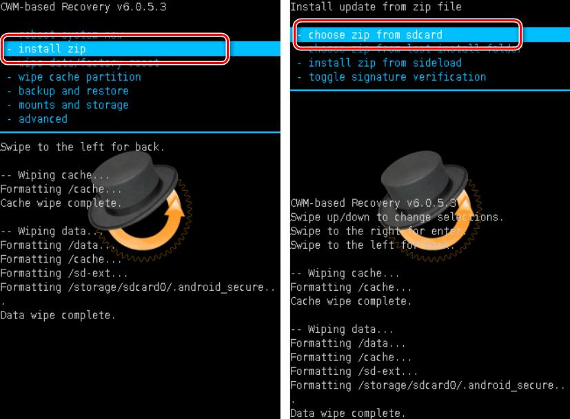 CWM تثبيت الرمز البريدي اختر من sdcard