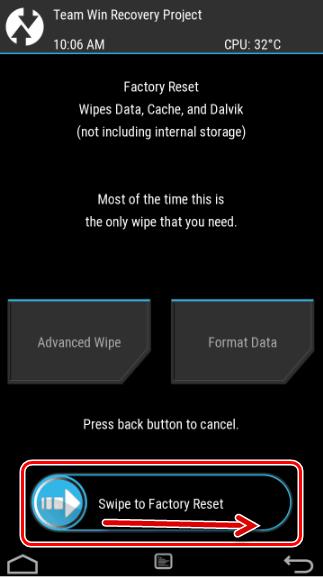 Twrp Limpe os dados do cache