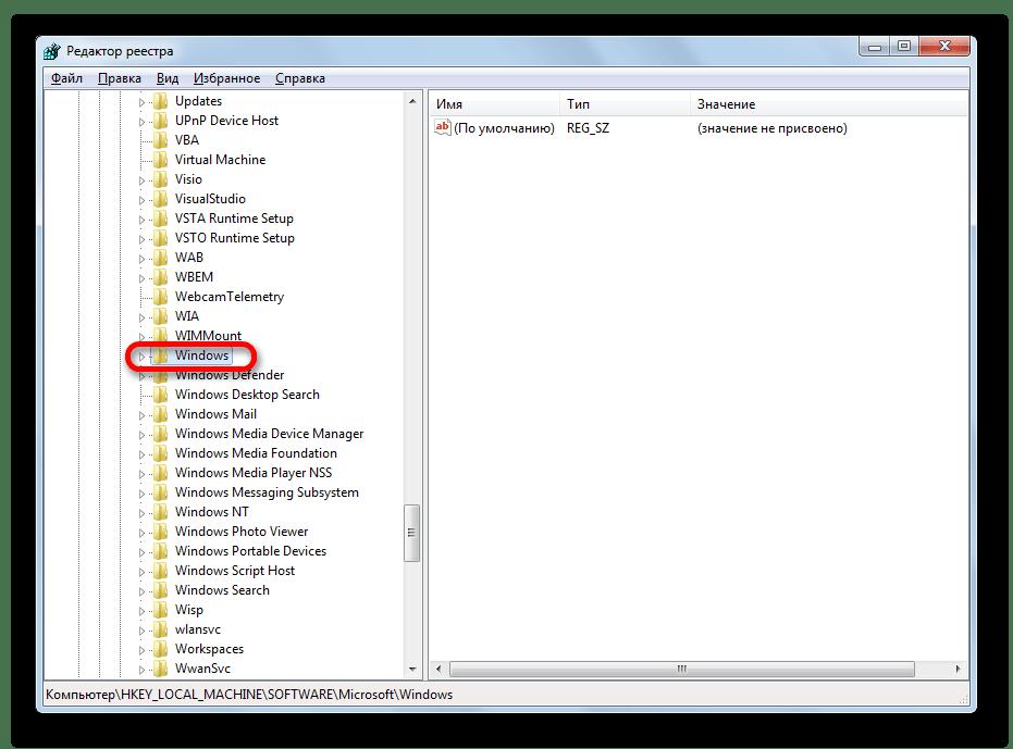Windows 7-дегі жүйелік редактор терезесіндегі Windows бөліміне өтіңіз