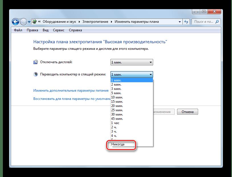 Bytt til hvilemodus i hvilemodus i seksjonen System og sikkerhetskontrollpanel i Windows 7