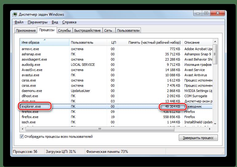 Windows 7 тапсырмалар менеджеріндегі Explorer.exe процесі орналасқан жедел жад мөлшері