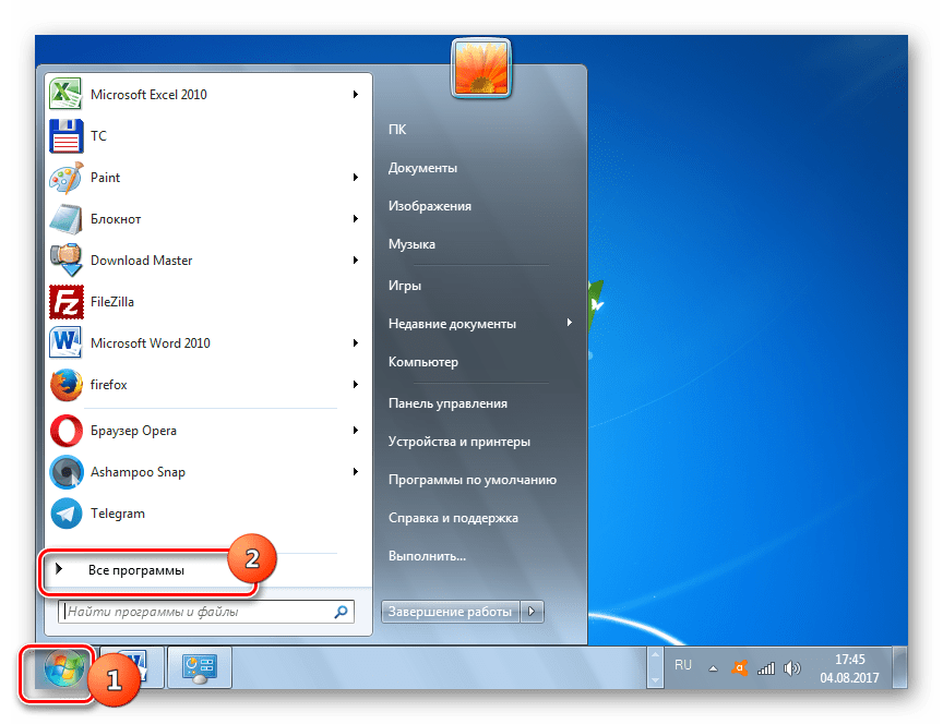 Ga naar alle programma's via het menu Start in Windows 7