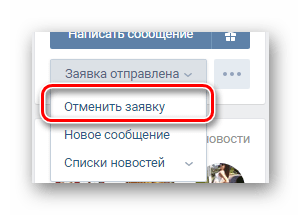 Using the Cancel button on the User's page on VKontakte website