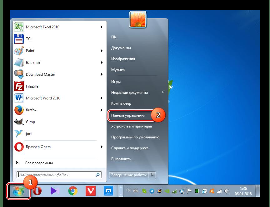 Basculez sur le panneau de commande à l'aide du bouton Démarrer dans Windows 7