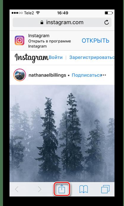 아이콘 공유를 클릭하면 iFhone에서 Instagram과 함께 다운로드 사진을 다운로드하십시오.