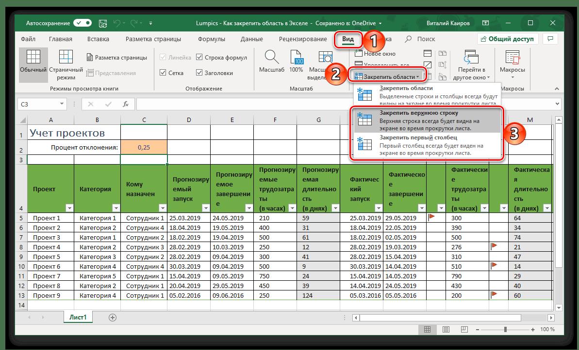 Fixing en rad eller en kolumn i Microsoft Excel-tabellen