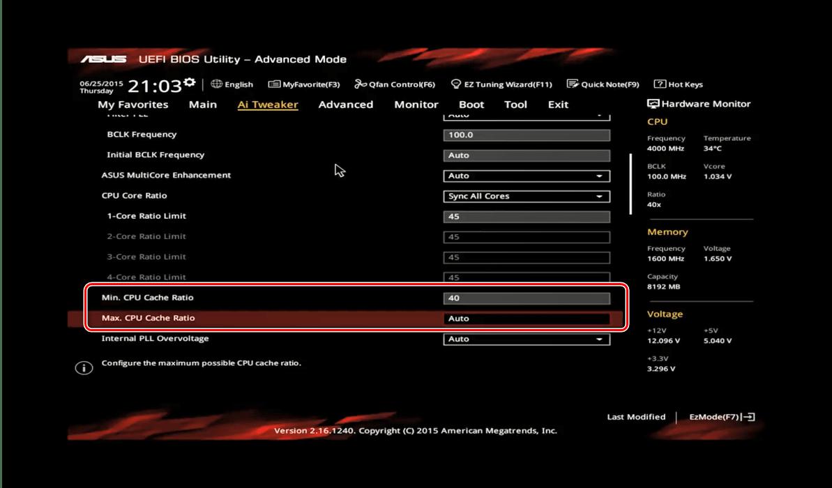 プロセッサをオーバークロックするためのASUSBIOSのキャッシュ乗数