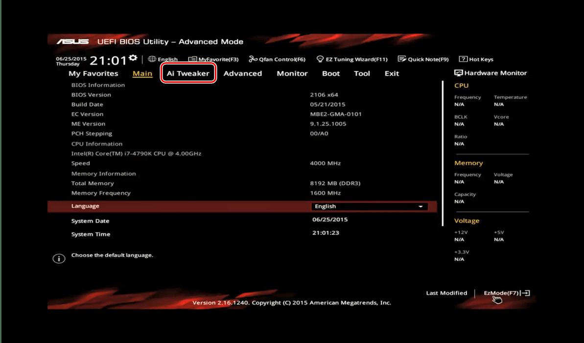 Otevřete tweaker v ASUS BIOS a přetaktujte procesor
