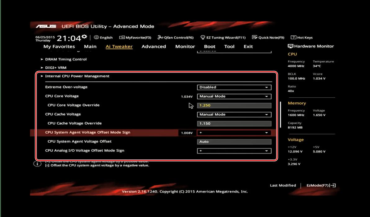 Nastavení napětí v ASUS BIOS pro přetaktování procesoru
