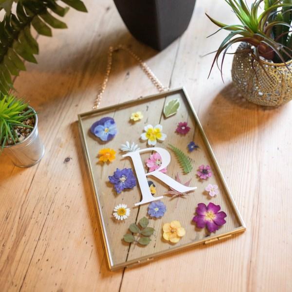 Personalised Pressed Flower Herbarium Gold Metal Frame