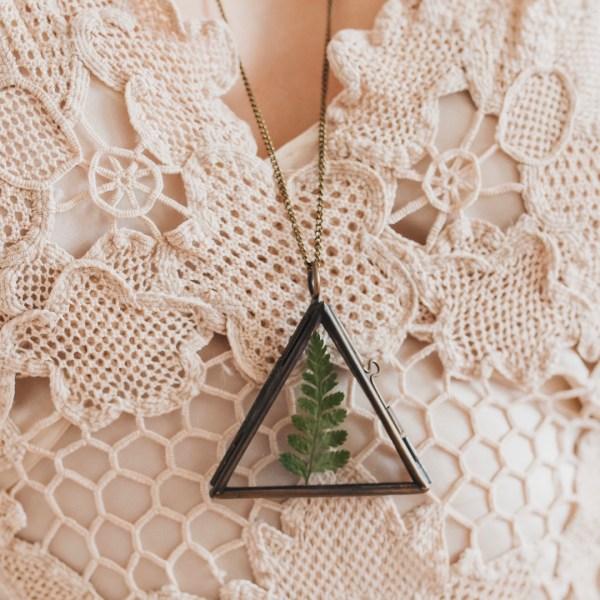 Pressed Flower Herbarium Triangle Locket Necklace