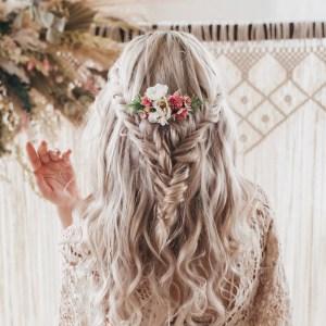 Lara Pink Wild Rose Wedding Flower Bridal Hair Comb