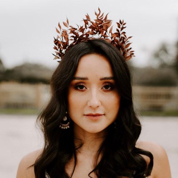 Topaz Bronze Ruscus Dried Flower Crown Wedding Headband