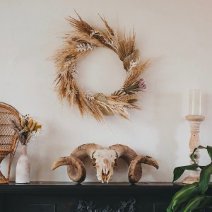 Palm Spear And Pampas Grass Dried Flower Wreath