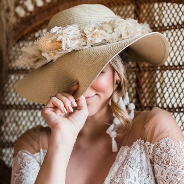 Luna and wild Delilah Dried Flower Straw Floppy Bridal Hat