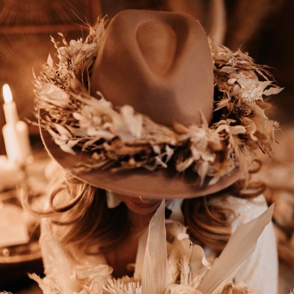 Amara Dried Flower Wedding Fedora Hat