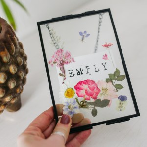Personalised Name Pressed Flower Glass Frame