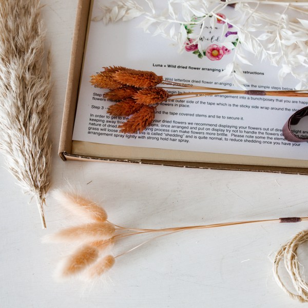 Peaches and Cream Letterbox dried flower arranging kit