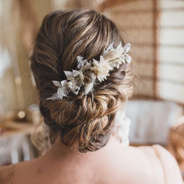 Olivia Dried Flower Wedding Bridal Hair Comb