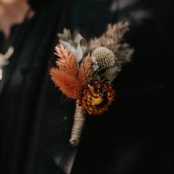 Autumnal Dried Flower Wedding Button Hole