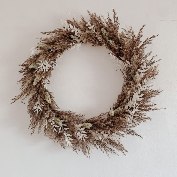 Bohemian Dried Pampas Grass and Ruscus Wreath