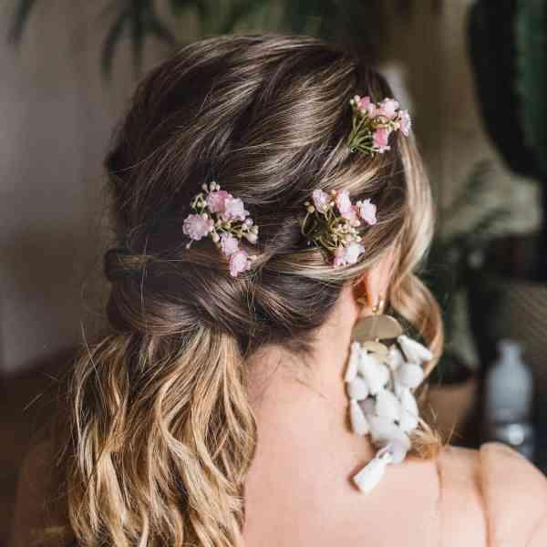 Liberty Pink Gypsophila Wedding Flower Hair Pin Luna and wild