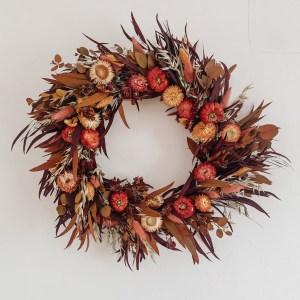 Autumn Halloween Pumpkin Dried Flower Wreath