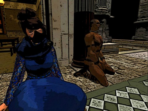 Free woman in blue robes of concealment