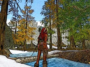 Red hair reaches a small river