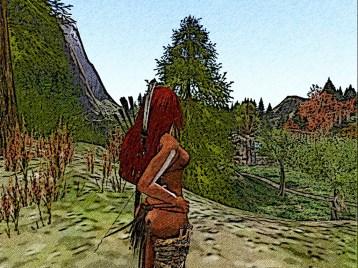 She heads inland following a narrow sandy path