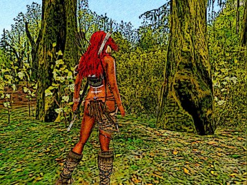 Thick thorn bushes stop her in her tracks