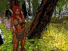 She stands a moment in the lush forest