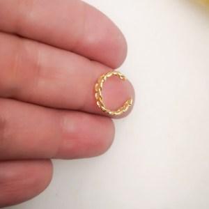 Aro bañado en oro de 12mm Piercing falso Argolla 1 unidad LBO11114