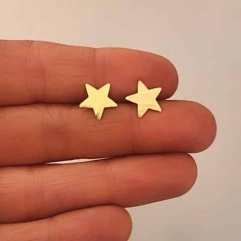 Aros bañados en oro 22k de 10mm Estrella LBO11464