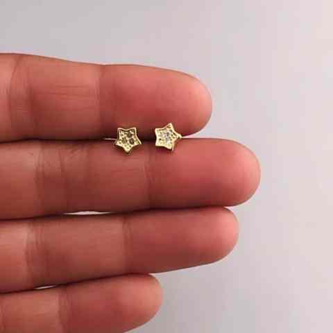 Aros bañados en oro 22k de 6mm Estrella Circones LBO11472
