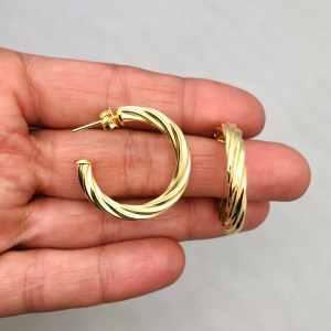 Aros bañados en oro 22k de 28mm Argolla Espiral 4mm LBO11584