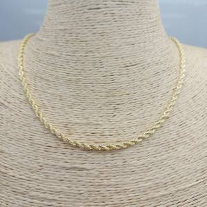 Collar bañado en oro de 45cm con 5cm alargue de largo Cadena espiral LBO30870