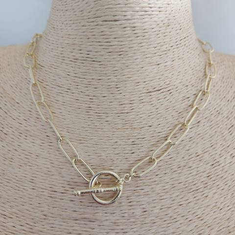 Collar bañado en oro de 40cm Cadena Broche palito LBO30985
