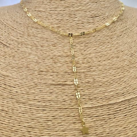 Collar bañado en oro 22k de 44cm Alargue 4cm Cadena Espejo Eslabón 3x5mm Cascada Estrella LBO31131