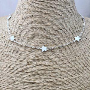 Collar bañado en plata de 39cm Alargue 6cm Cadena Estrellas LBO31132