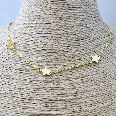 Collar bañado en oro 22k de 39cm Alargue 6cm Cadena Estrellas LBO31133