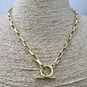 Collar bañado en oro 22k Cadena Broche Palito LBO31153